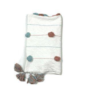 Pier 1 Rare Pom Tassels Blanket Quilt Throw Cotton